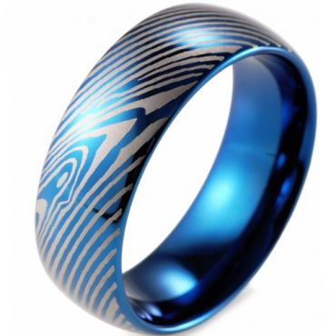 COI Blue Tungsten Carbide Damascus Dome Court Ring-TG2612