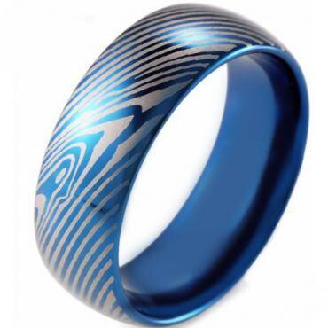 COI Blue Tungsten Carbide Damascus Dome Court Ring-TG2612
