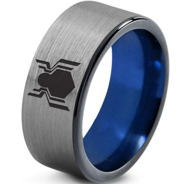 COI Tungsten Carbide Blue Silver Spiderman Ring - TG2759