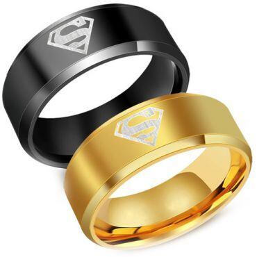 **COI Tungsten Carbide Black/Gold Tone Superman Ring - TG2761AA