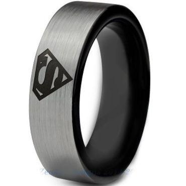 **COI Titanium Black Silver Superman Pipe Cut Flat Ring - 2776