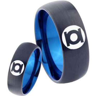 COI Tungsten Carbide Black Blue Green Lantern Ring - 2807