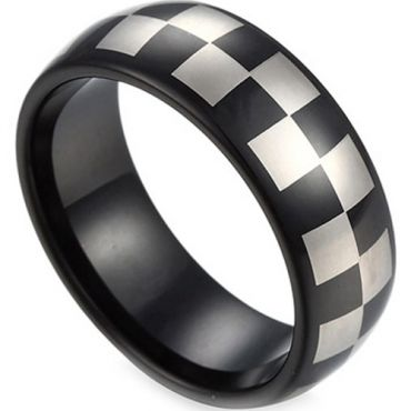 COI Black Tungsten Carbide Checkered Flag Ring - TG2818