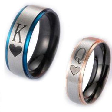 *COI Titanium Black Pink/Blue King Queen Heart Ring-2875
