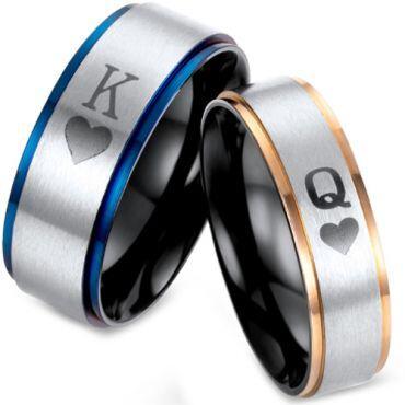 *COI Titanium Black Rose/Blue King Queen Heart Ring-2875
