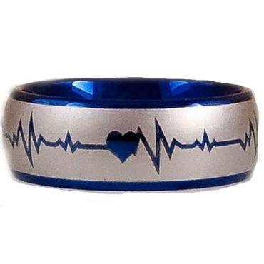 *COI Titanium Blue Silver Heartbeat & Heart Dome Court Ring-2887