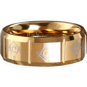 COI Gold Tone Tungsten Carbide Masonic Ring - TG289A