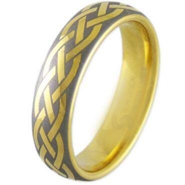 COI Gold Tone Titanium Dome Court Celtic Ring - 2908