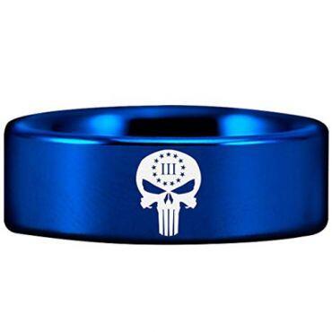 COI Blue Titanium Skull Pipe Cut Flat Ring - 2914