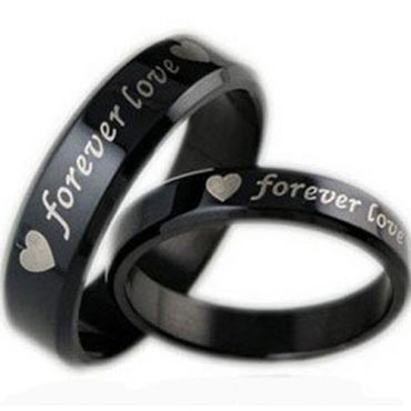 COI Black Tungsten Carbide Forever Love Heart Ring - TG2915