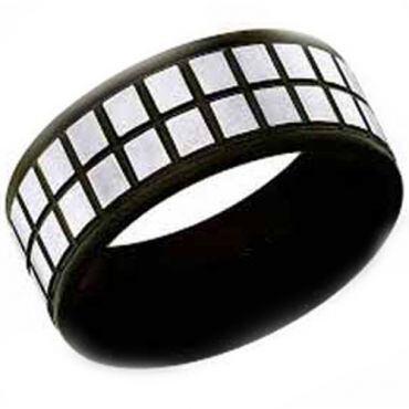 COI Tungsten Carbide Black Silver Checkered Flag Ring-TG2917