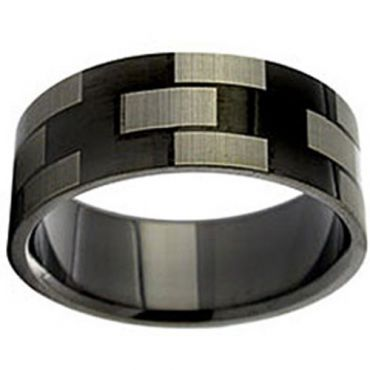 COI Black Tungsten Carbide Checkered Flag Ring - TG2924