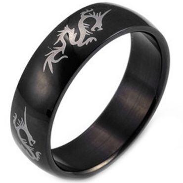 COI Black Tungsten Carbide Dragon Dome Court Ring - TG2932