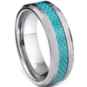 COI Tungsten Carbide Beveled Edges Ring With Carbon Fiber-TG2945