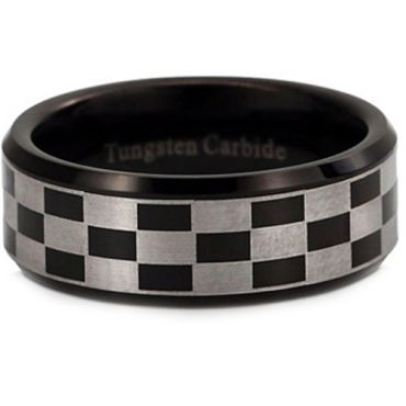 *COI Tungsten Carbide Black Silver Checkered Flag Ring-TG2952