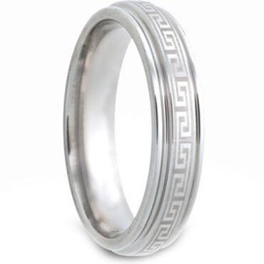 COI Tungsten Carbide Greek Key Step Edges Ring - TG2982