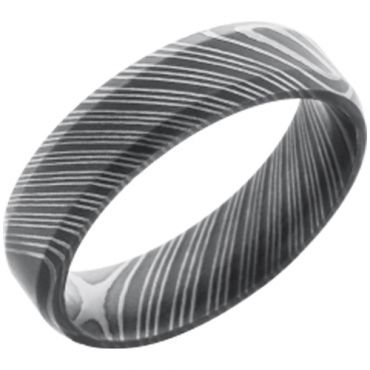 COI Black Tungsten Carbide Damascus Beveled Edges Ring-TG2991