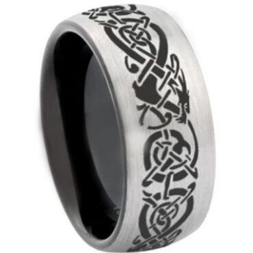 COI Tungsten Carbide Black Silver Dragon Dome Court Ring-3007
