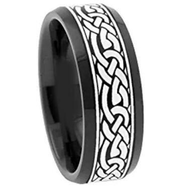 COI Black Titanium Celtic Beveled Edges Ring - 3062