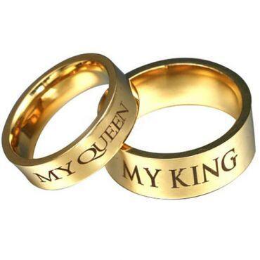 *COI Gold Tone Titanium King Queen Pipe Cut Flat Ring - 3073