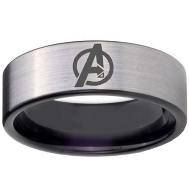 COI Titanium Black Silver Marvel Avengers Pipe Cut Ring-3094