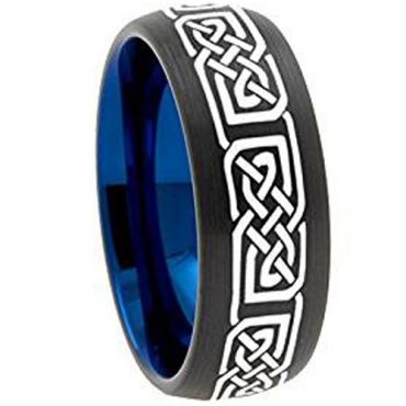 COI Tungsten Carbide Black Blue Celtic Ring - TG3148