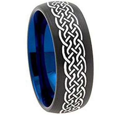 COI Tungsten Carbide Black Blue Celtic Dome Ring - TG3151A