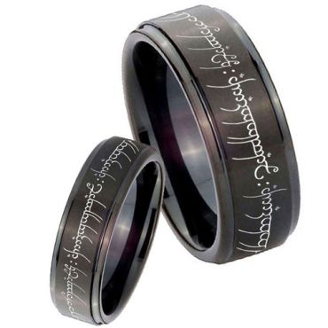 **COI Black Titanium Lord of The Ring Step Edges Band - JT3394A