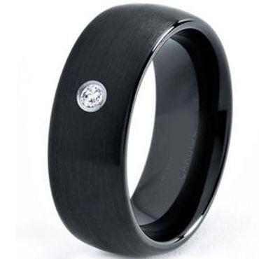 COI Black Tungsten Carbide Ring With Genuine Diamond - TG3177C