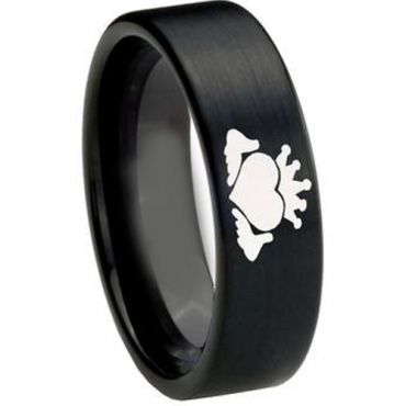 COI Black Tungsten Carbide Mo Anam Cara Pipe Cut Ring-3217