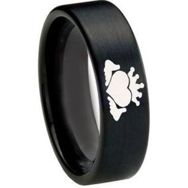 COI Black Tungsten Carbide Mo Anam Cara Pipe Cut Ring-3217