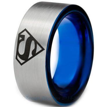 **COI Tungsten Carbide Blue Silver Superman Ring - TG3226