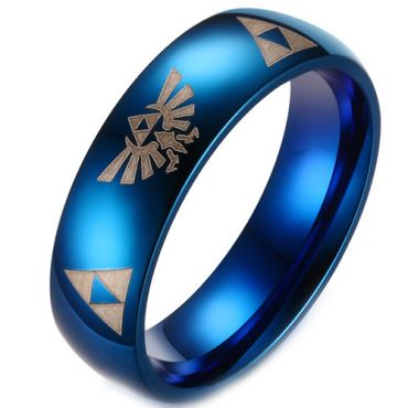 COI Blue Tungsten Carbide Dome Legend of Zelda Ring-TG3229