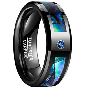 COI Black Tungsten Carbide Abalone Shell Zirconia Ring-TG3237