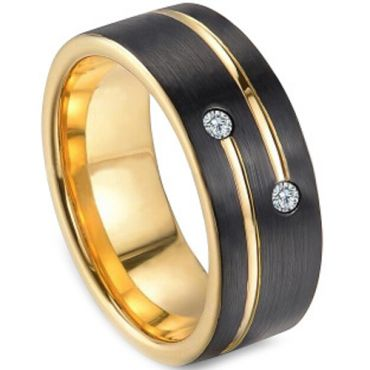 COI Tungsten Carbide Black Gold Tone Cubic Zirconia Ring-TG3249