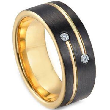 *COI Titanium Black Gold Tone Ring With Cubic Zirconia - 3249