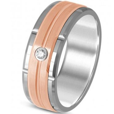 *COI Titanium Rose Silver Tire Tread Ring With Cubic Zirconia-325