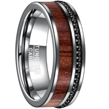 COI Tungsten Carbide Wood Cubic Zirconia Ring-TG3266