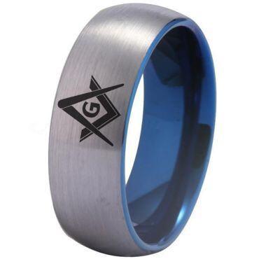 *COI Titanium Blue Silver Masonic Dome Court Ring - 3275
