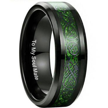 COI Black Tungsten Carbide Dragon Beveled Edges Ring - TG3353