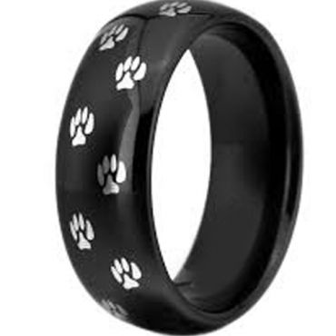 COI Black Tungsten Carbide Paws Track Dome Court Ring-TG3366C