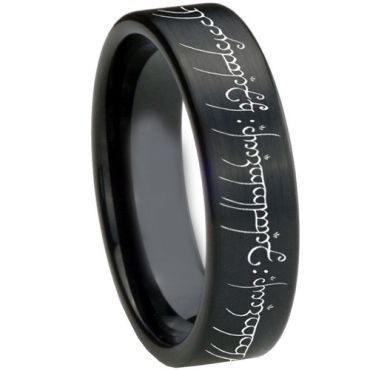 COI Black Tungsten Carbide Lord of The Ring Ring-3367