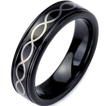 COI Black Tungsten Carbide Infinity Step Edges Ring-TG3369