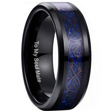 COI Black Tungsten Carbide Dragon Beveled Edges Ring - TG3371