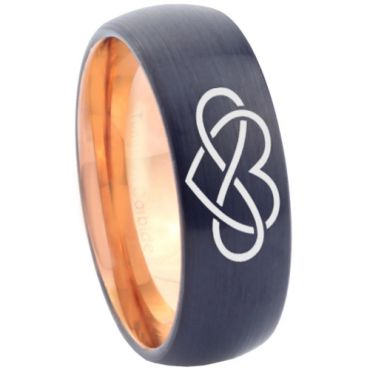 COI Tungsten Carbide Black Rose Infinity Heart Ring - 3374
