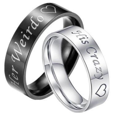 *COI Tungsten Carbide Black/Silver Her Weirdo His Crazy Ring - TG3376