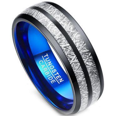 COI Tungsten Carbide Black Blue Meteorite Ring - TG3403
