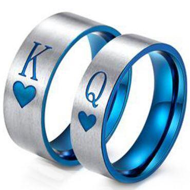 *COI Titanium Blue Silver King Queen Heart Pipe Cut Ring-3428