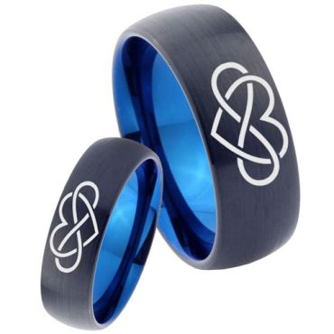 *COI Tungsten Carbide Black Blue Infinity Heart Ring - 3449