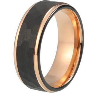 COI Tungsten Carbide Two Tone Hammered Ring-TG344(Size US16)